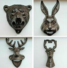Animal Bottle Opener Stag Bear Head Cast Iron Metal Wall Mounted Bottle Opener
