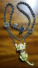 betsey johnson yellow tiger leopard panther necklace viva La Betsey collection