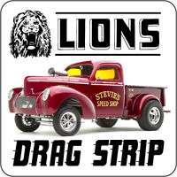 LIONS DRAG STRIP WILLYS TRUCK DRAG RACE HOT RAT ROD DECAL VINTAGE LOOK STICKER
