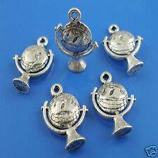 5 x tibétain argent 3d globe pendentif charme