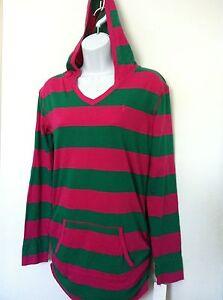 Ralph Lauren Girls Shirt Pink Green Stripe Hoodie LS Ruched Kangaroo Size 5 NWT