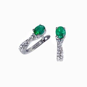 Creolen Ohrringe Klappcreolen Diamanten 14K Weißgold AAA Smaragde Brillanten Neu