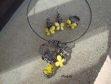 Parure papillon jaune  FAIT MAIN, collier, boucles d'oreilles, bague, Mariage,