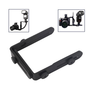 Dual L-shaped Metal Bracket Holder Mount for Canon Nikon DSLR Speedlite Camera