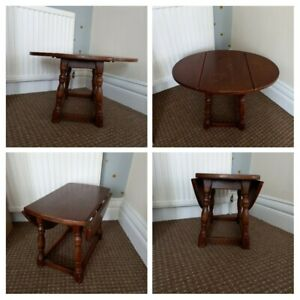 ANTIQUE VINTAGE - Small Wooden Drop Leaf Table Coffee Side Occasional - Folding