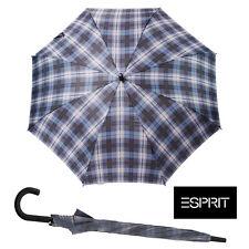 New Esprit Windproof Check Blue Umbrella Black Shaft Golf Umbrella Brolley
