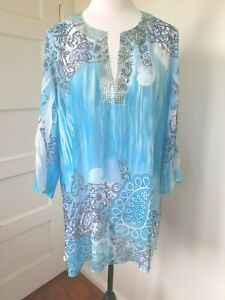SEVEN SISTERS 3/4 - 7/8 sleeve blues/white polyester top with sequin trim. 16