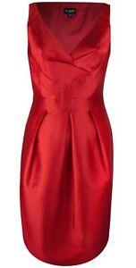 HOBBS VITA RED PLEAT SATEEN SILK WOOL PENCIL SHIFT DRESS 12 BNWT £149