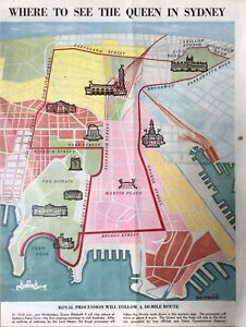 """""""WHERE TO SEE THE QUEEN IN SYDNEY"""", Pictorial Map -1st visit of Queen Elizabeth."""
