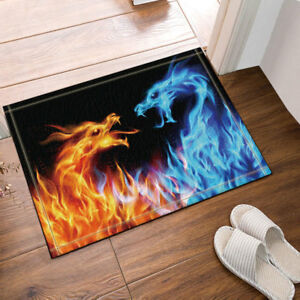 Fantasy Blue and Yellow Fire Dragon Fabric Shower Curtain Waterproof & 12 Hooks