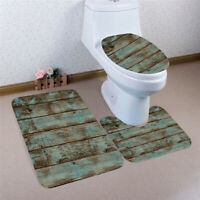 3PCS Bathroom Carpet Non-Slip Pedestal Rug + Lid Toilet Cover + Bath Mat Set US