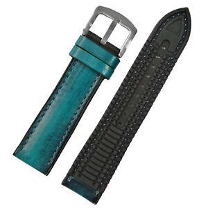 New 22mm 24mm Green Calf Skin Silicone Rubber Mens Womens Watch Strap Watch band