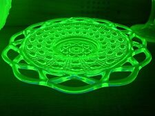 Imperial Open Lace Laced Edge Green Vaseline Shallow Plate Aka Dot & Sugar Cane