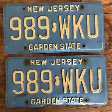 Vintage New Jersey Blue White License Plate Matching Pair 989 WKU Garden State