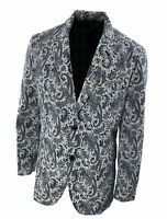Tasso Elba Men's Paisley Print Seersucker Sport Coat Navy Blue White Size XL