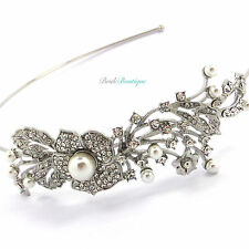Bridal Wedding Silver Crystal Pearl Vine Flower Side Accent Headband Tiara TH05