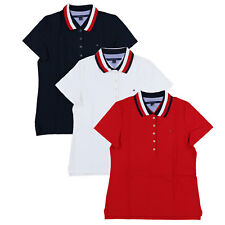 Tommy Hilfiger Womens Polo Shirt Stretch Mesh 5 Button Short Sleeve Fitted New