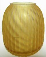 Antique Diagonal Swirled Satin Art Glass Fairy Lamp Dome Shade Vertical Columns
