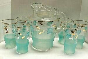 Bartlett Collins Teal Aqua Blue Pitcher And Tumbler Glasses Set Hand Painted