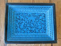 VINTAGE OLINALA MEXICAN FOLK ART HAND PAINTED & CARVED WOOD TRAY - 9.5 in. x 7.5