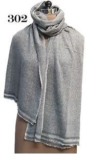100%Cashmere Herringbone Grey/Black/Ivory Women's/Ladies Scarves/Wrap/Shawls