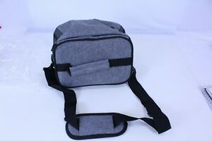Insulated Lunch Bag Grey & Black with Padded Shoulder Strap GreCute