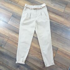 NEW Topshop Size 10 Beige Chino Style Belted Pleat Front Trousers Casual Safari
