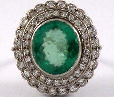 Stunning Platinum Diamond (2.0 Ctw) and Natural Emerald (5.05 Ctw) Ring