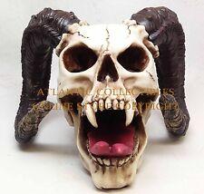 LARGE HORNED DEVIL VAMPIRE FANGS EVIL SKULL SKELETON BISON LIKE FIGURINE STATUE