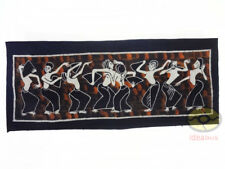 "Folk Art Wall Hanging Batik Tapestry- The Dance of the Dai Ethnic People 17""x41"""