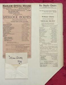 WILLIAM GILLETTE STAGE ACTOR - 1899 AUTOGRAPH CARD & FOUR THEATRE BROADSIDES