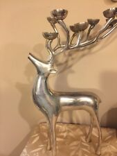 """Pottery Barn Silver Reindeer Candle Holder Candelabra - 20"""" Tall - Great Cond!"""