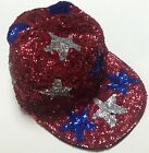 JC USA Red White & blue sequined stars patriotic hat/cap-4th of July-One size