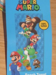 """Super Mario Bros Cotton Beach Towel 28"""" x 58"""" New with Tags"""