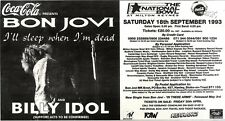 "1/5/93PGN53 ADVERT 5X11"" BON JOVI & BILLY IDOL : I'LL SLEEP WHEN I'M DEAD"