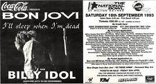 "1/5/93PGN53 ADVERT 5X11"" BON JOVI & BILLY IDOL : I'LL SLEEP WHEN I'M DEAD"