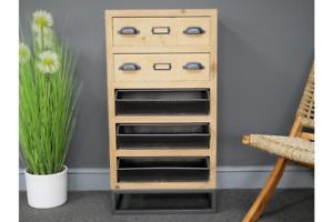 Industrial Wood & Metal 5 Drawer Storage Cabinet