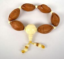 Quan Yin Bracelet Carved Seed Pit Rosary Brown Ivory Color Bead