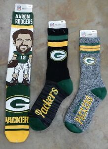 3 Pack NFL Green Bay Packers Socks Gift Set Aaron Rodgers Script Marbled Large