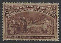 US Stamps - Scott # 234 - 5c Columbian - Mint OG Never Hinged            (A-411)