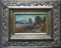 ÖLBILD Holz F. LAUTERBACH SEGELBOOTE SEE Rahmen 28 x 23 cm Gemälde 15 x 10 cm