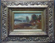 ÖLBILD F. LAUTERBACH SEGELBOOTE SEE Rahmen 28x23 cm Gemälde 15x10cm