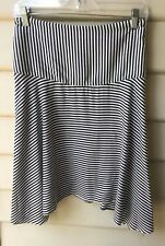 TRENERY COUNTRY ROAD Size 12 M A-Line Fit & Flare Black White Stripe Skirt EUC