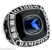World Champion Men's Ring Blue Sapphire Simulated Stainless Steel Size 10