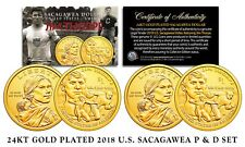 2018 Native American Sacagawea JIM THORPE $1 Dollar Coin Set 24K GOLD Gilded P&D