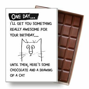 Cat Birthday Card Funny Gift for Cat Lady Silly Novelty Chocolate for Him or Her