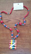 """TEACHER NECKLACE COLORFUL WOOD BEADS  24""""  """"I LOVE TO TEACH"""" NWOT"""