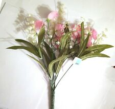 Artificial Flowers Sweet Pea Pink White lily valley Stem Bunch Floral Wedding