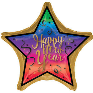 Colourful New Year Jumbo 28 Inch Star Foil Balloon