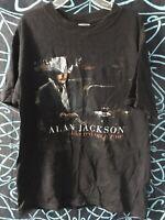 Vintage Alan Jackson T-SHIRT Size MEDIUM Tour CONCERT Music BLACK Short Sleeve